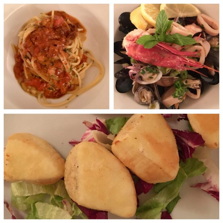 Spaghetti with sea food and fried ricotta