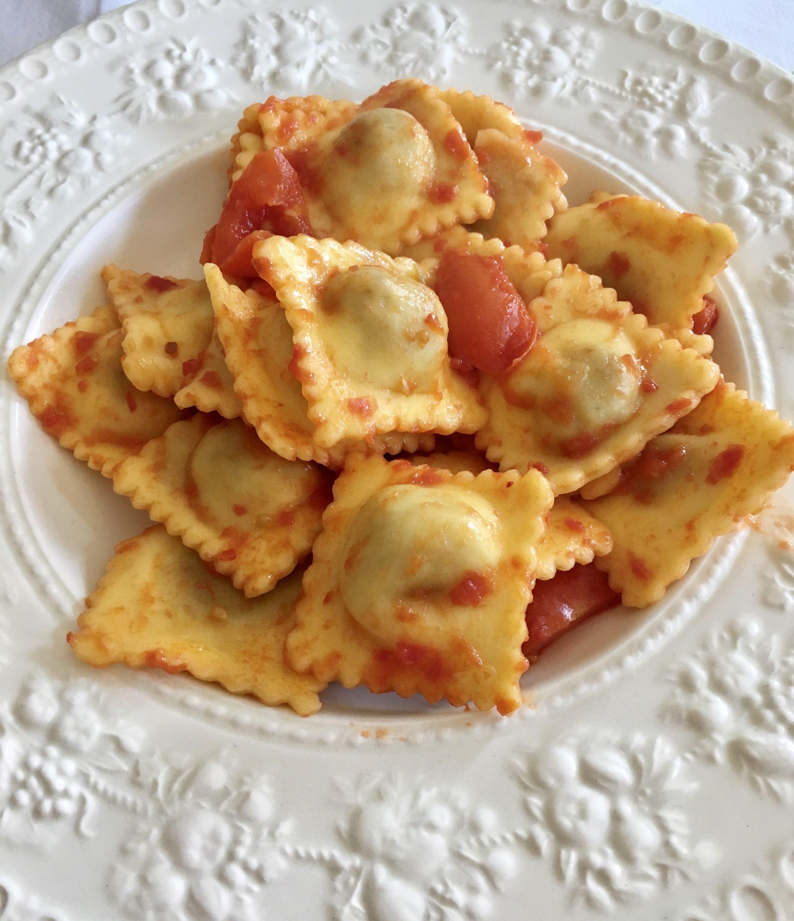 Agnolotti with tomato sauce